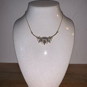 Faux diamond and gold necklace